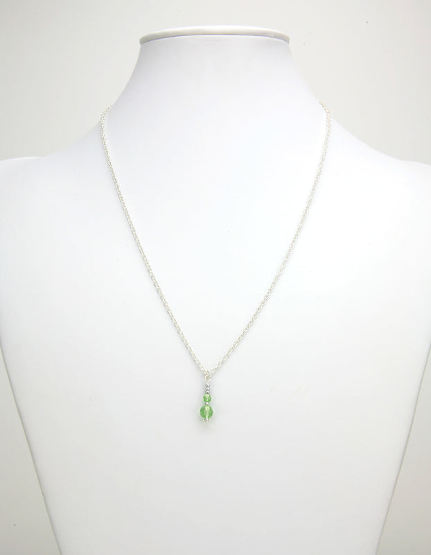 Double Peridot Silver August Birthstone Pendant