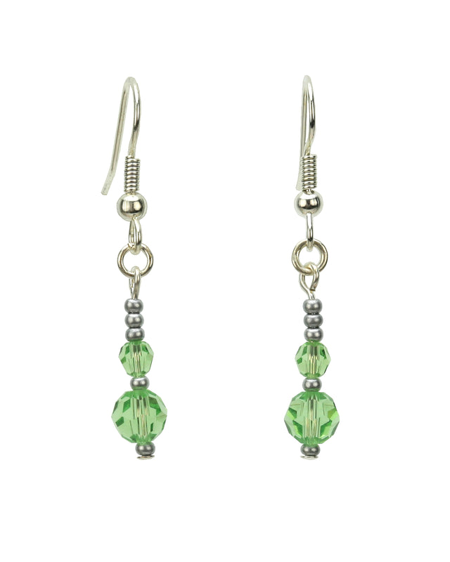 Double Peridot Silver August Birthstone Earrings
