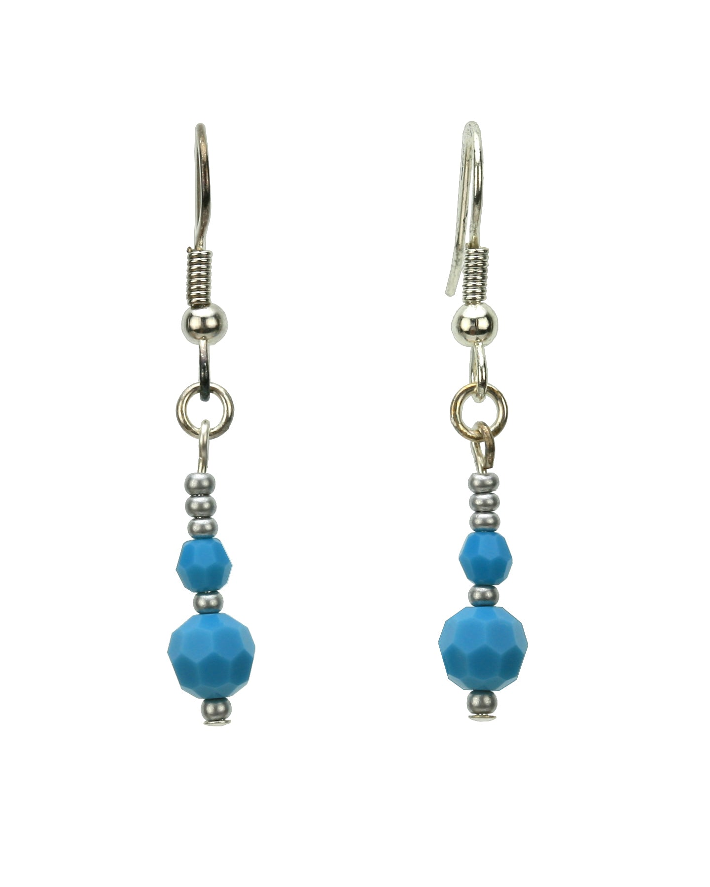 Double Turquoise Silver December Birthstone Earrings