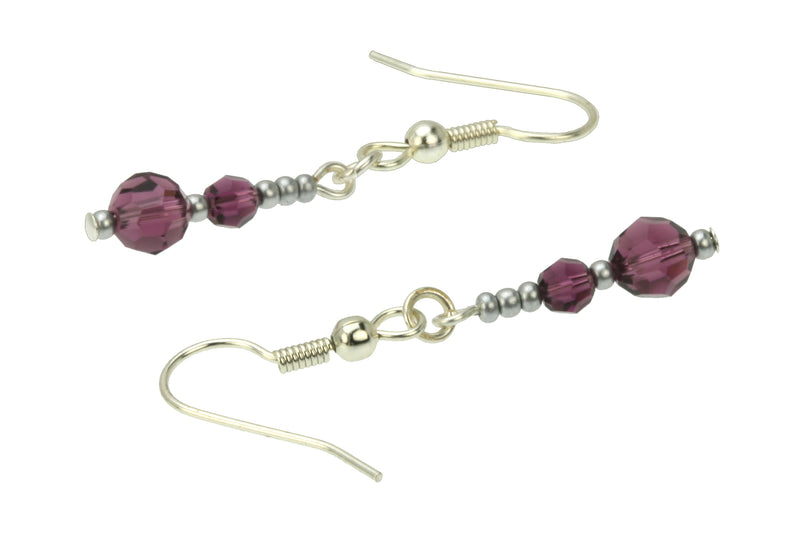 Double Amethyst Silver February Birthstone Earrings