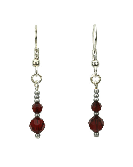 Double Siam Silver January Birthstone Earrings