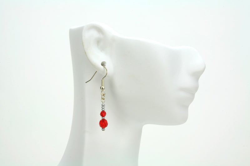 Double Light Siam Silver July Birthstone Earrings