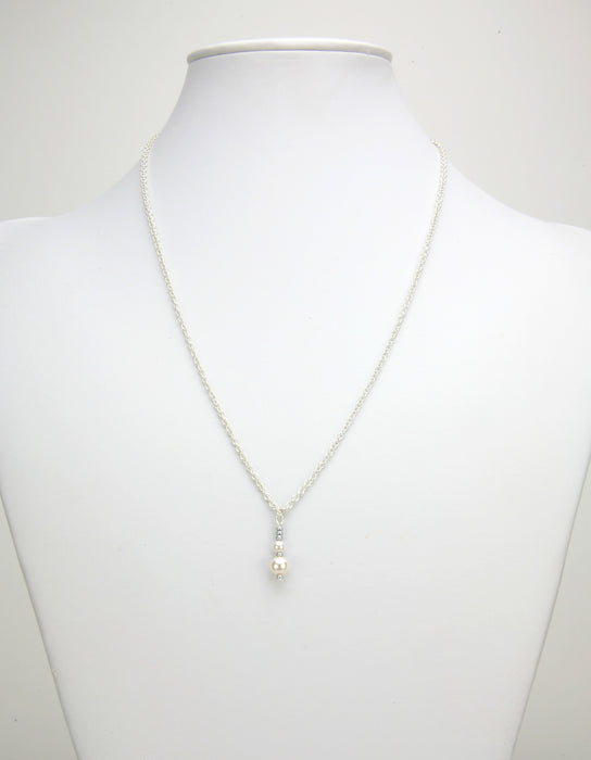 Double White Pearl Silver June Birthstone Pendant