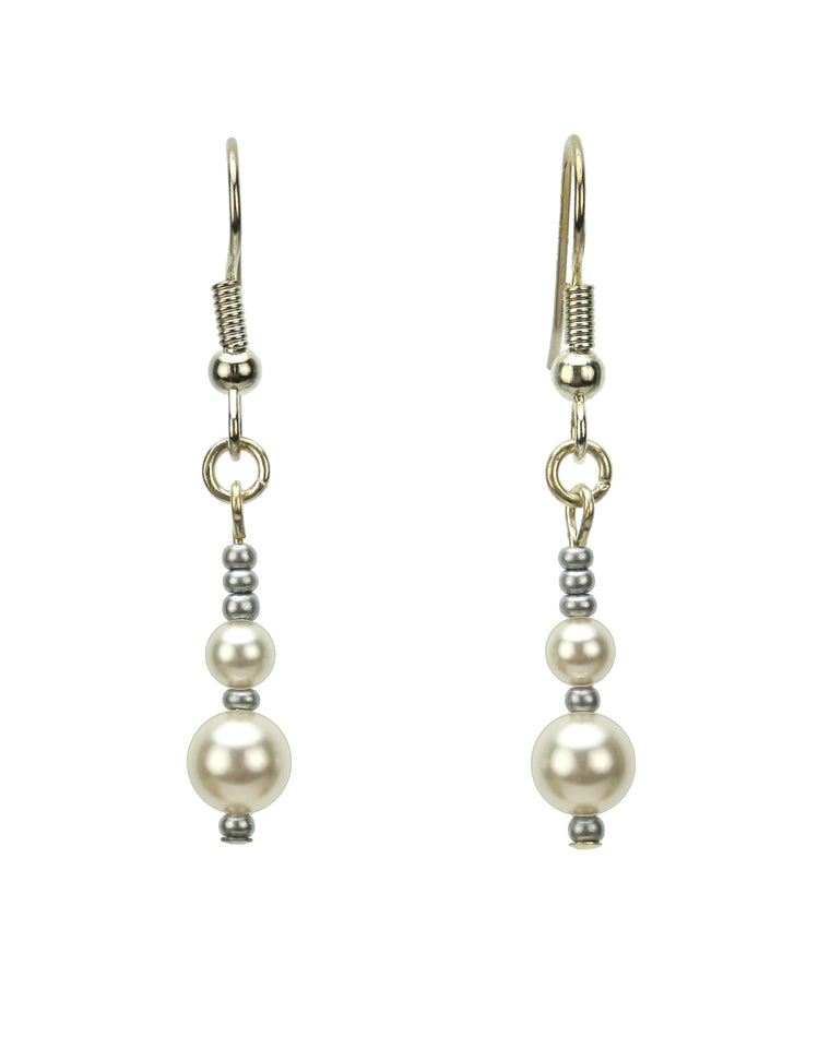 Double White Pearl Silver June Birthstone Earrings