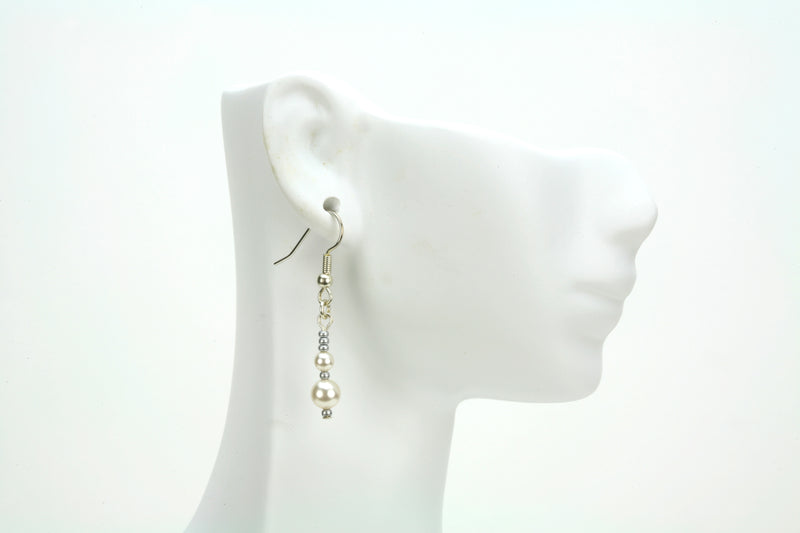 Double White Pearls and Seed Beads Silver Earrings