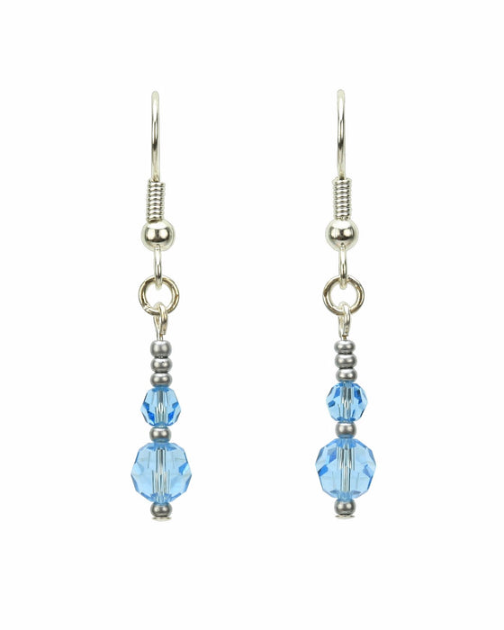 Double Aquamarine Silver March Birthstone Earrings