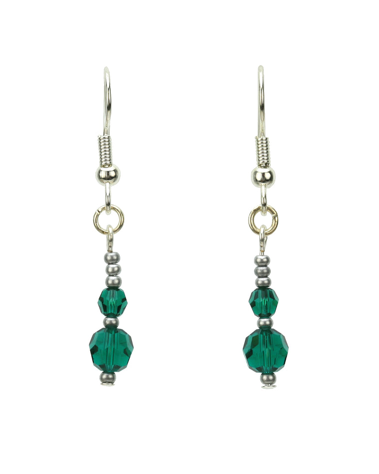 Double Emerald Silver May Birthstone Earrings