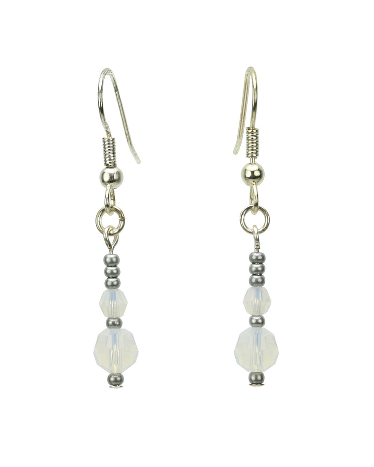 Double White Opal Silver October Birthstone Earrings