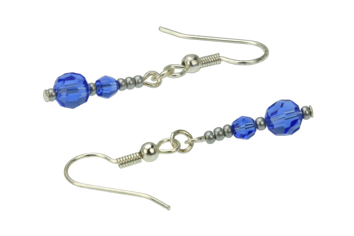 Double Sapphire Silver September Birthstone Earrings