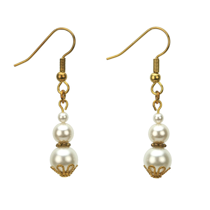 White Pearl Gold Earrings