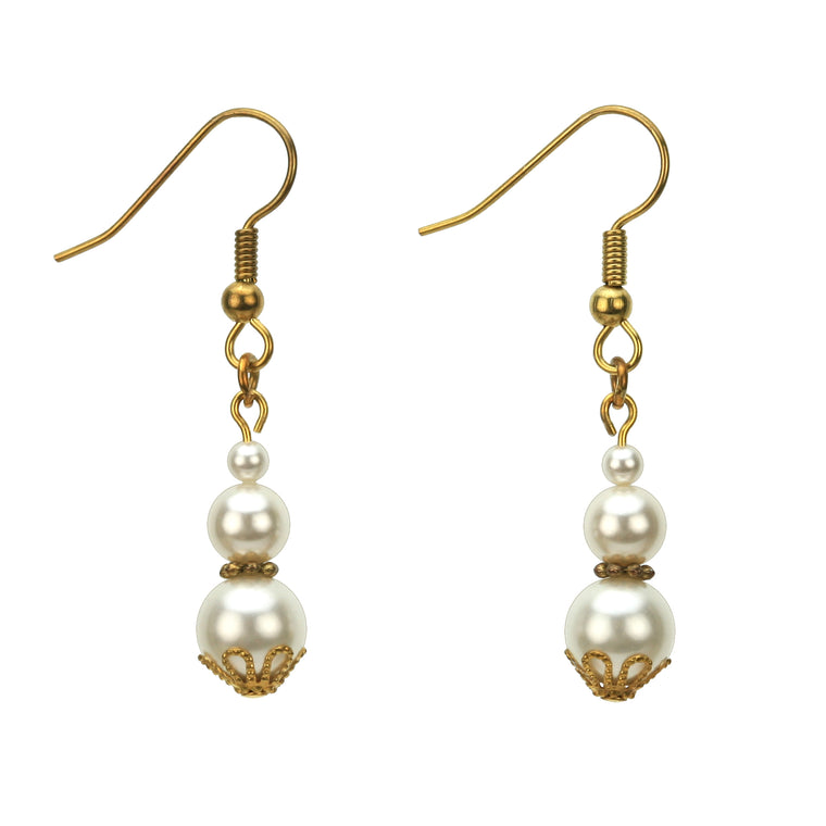 Triple White Pearl Gold Earrings