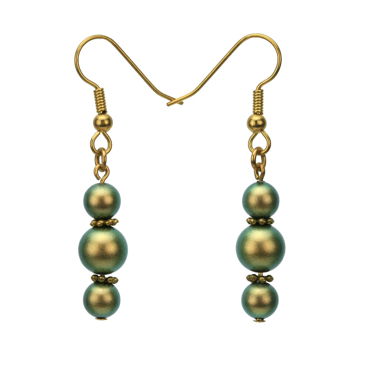 Iridescent Green Pearls Gold Dangle Earrings