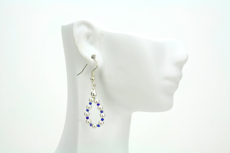 White Pearls and Cobalt Silver Earrings