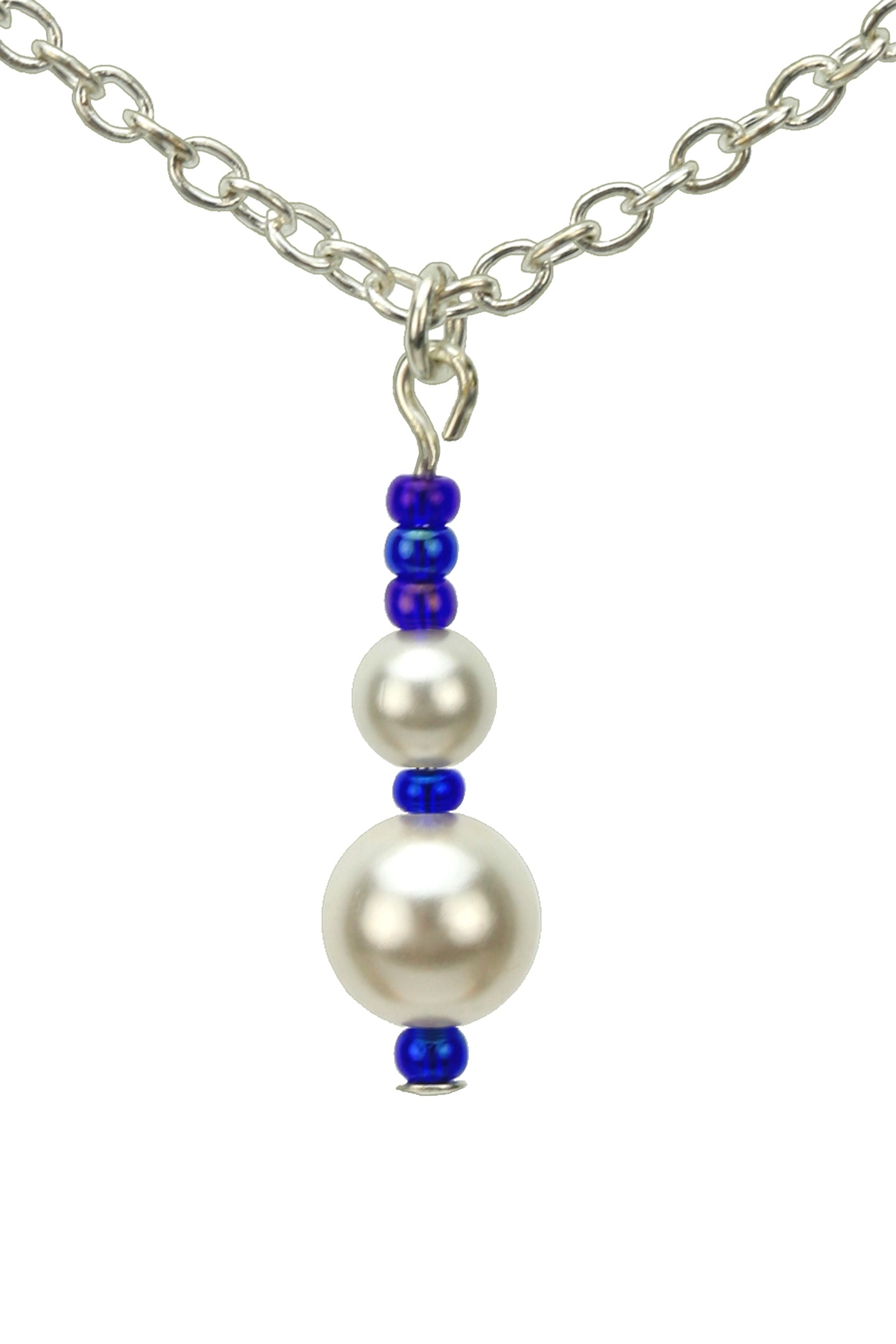 White Pearls and Cobalt Silver Pendant