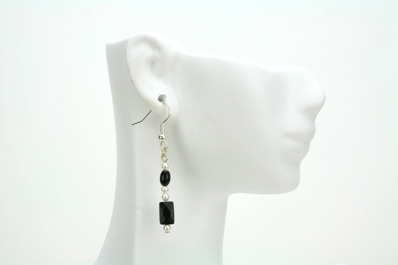 Classic Black and White Silver Earrings