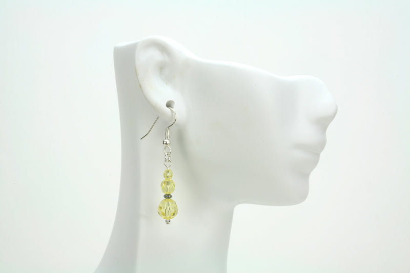 Jonquil Three Bead November Birthstone Silver Earrings