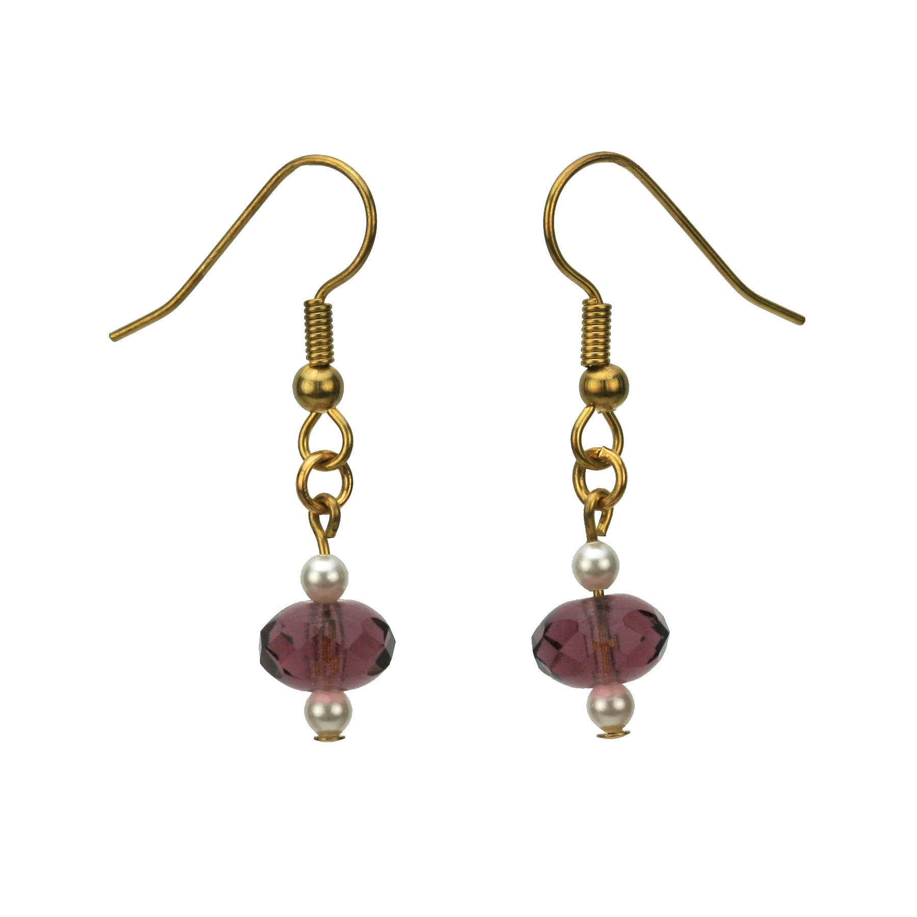 Amethyst and White Pearls Gold Earrings