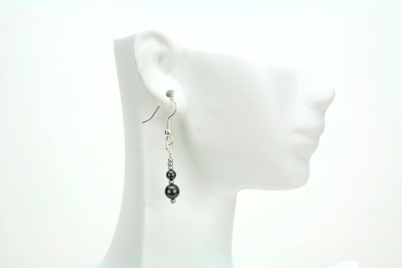 Double Black Pearls and Seed Beads Silver Earrings