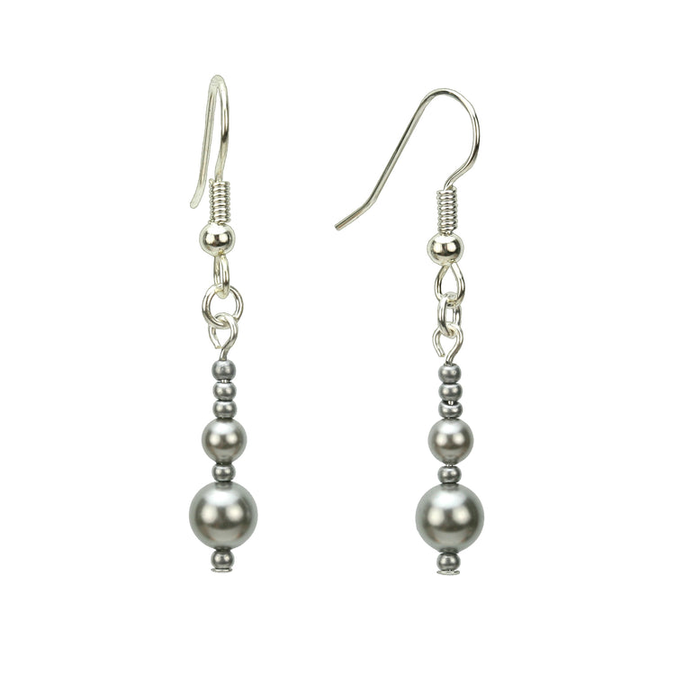Double Light Grey Pearls and Seed Beads Silver Earrings