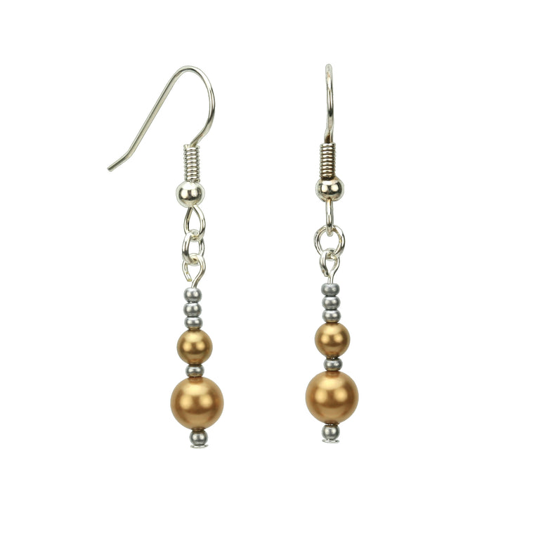 Double Bright Gold Pearls and Seed Beads Silver Earrings