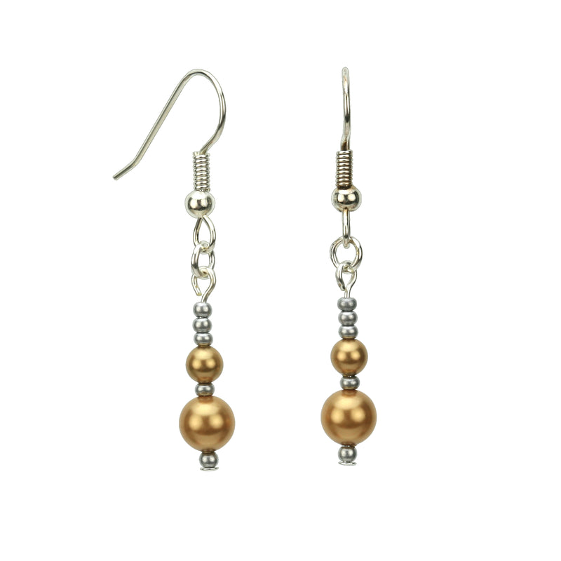 Bright Gold Pearls and Seed Beads Silver Earrings