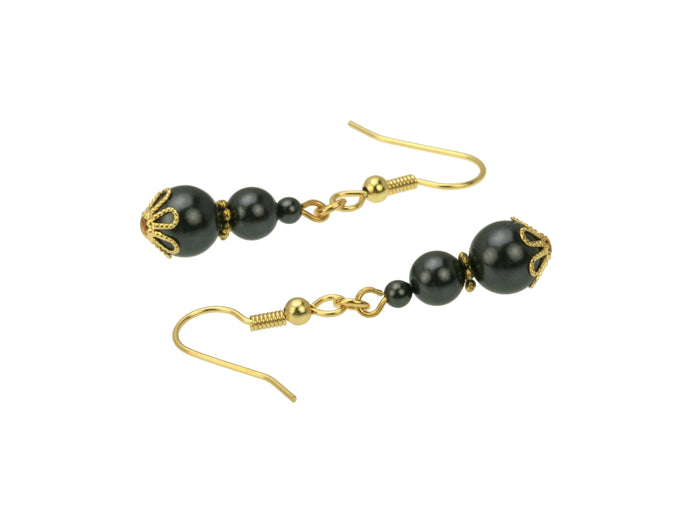 Triple Black Pearl Gold Earrings