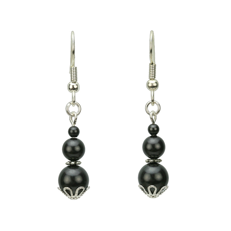Triple Black Pearl Silver Earrings