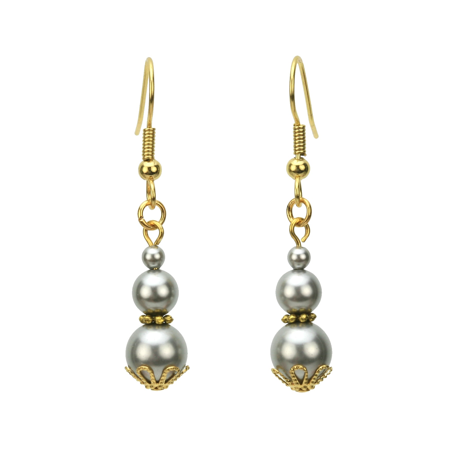 Triple Light Grey Pearl Earrings