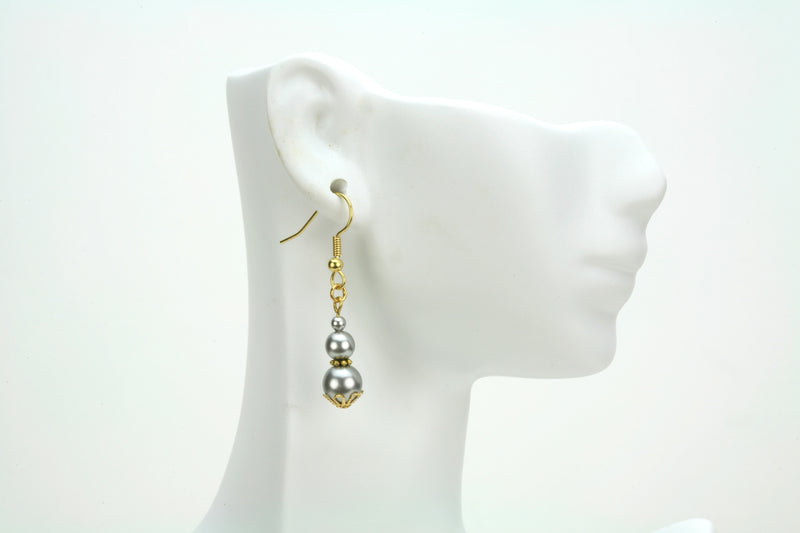 Triple Light Grey Pears Gold Earrings