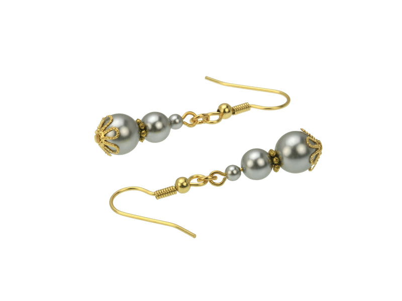 Triple Light Grey Pearl Gold Earrings