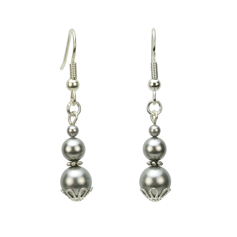 Triple Light Grey Pearl Silver Earrings