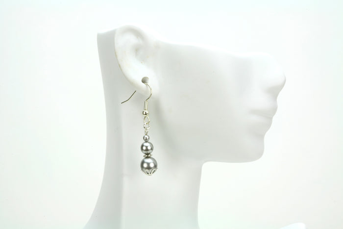 Triple Light Grey Pearls Silver Earrings