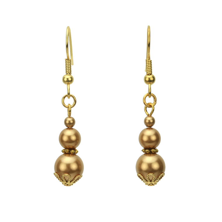 Triple Bright Gold Pearl Gold Earrings