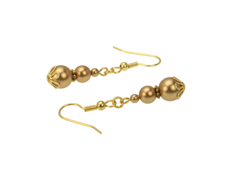 Triple Bright Gold Pearls Gold Earrings