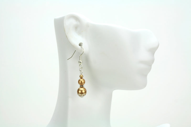 Triple Bright Gold Pearls Silver Earrings