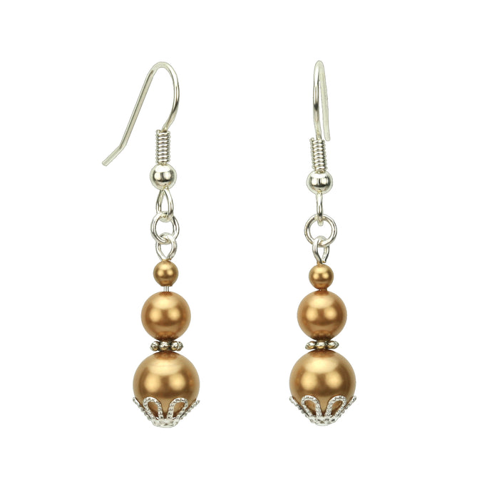 Triple Bright Gold Pearl Silver Earrings