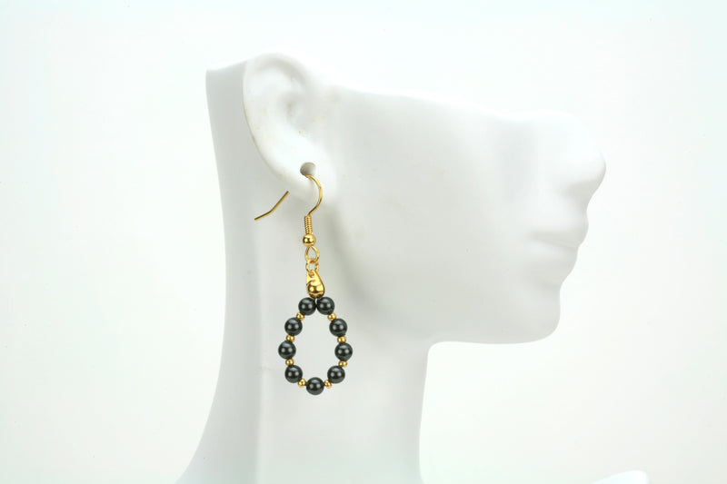 Black Pearl Gold Hoop Earrings