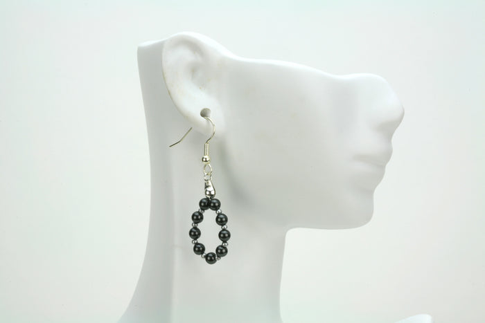 Black Pearl Silver Hoop Earrings