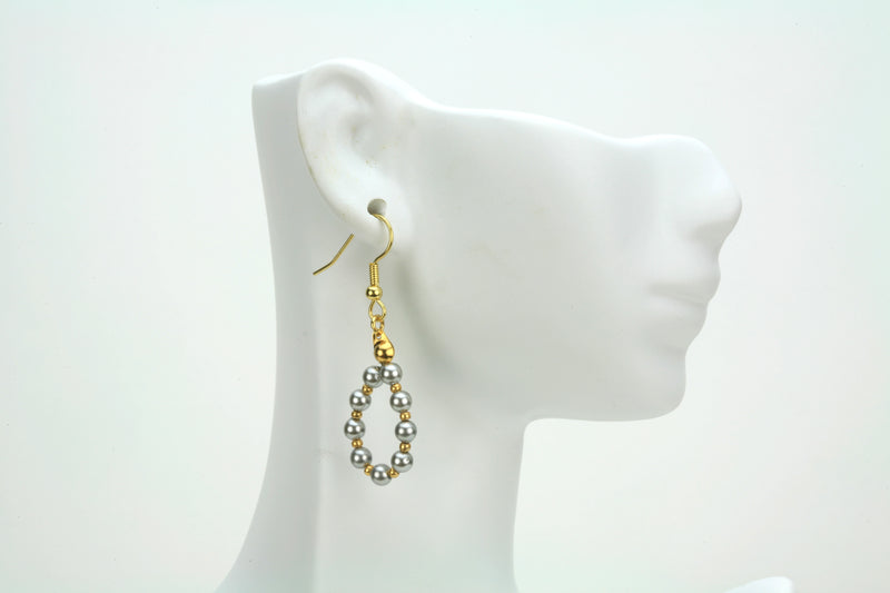 Light Grey Pearl Gold Hoop Earrings
