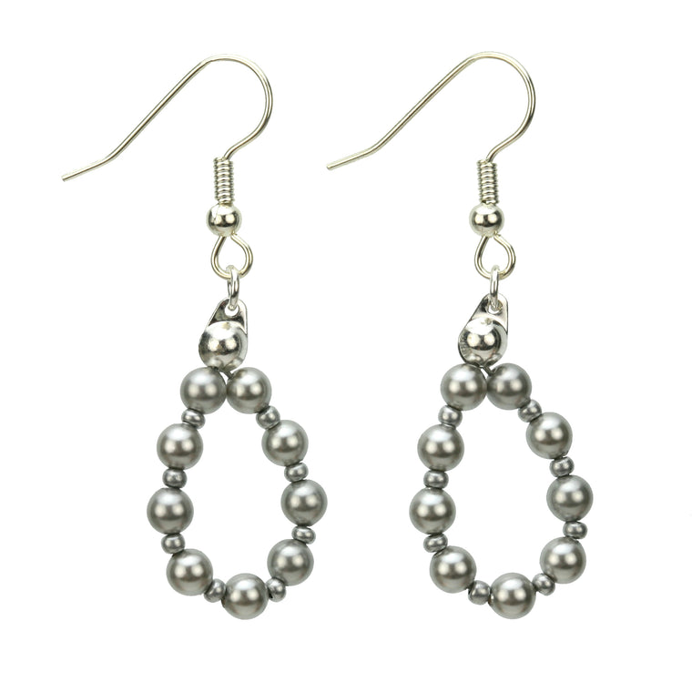 Light Grey Pearl Silver Hoop Earrings