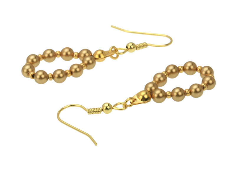 Bright Gold Pearl Gold Hoop Earrings