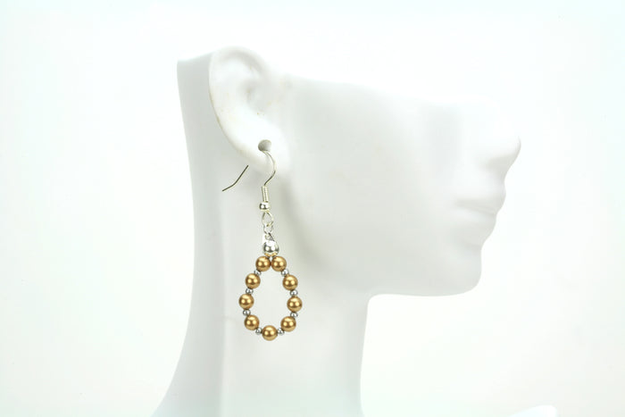 Bright Gold Pearl Silver Hoop Earrings