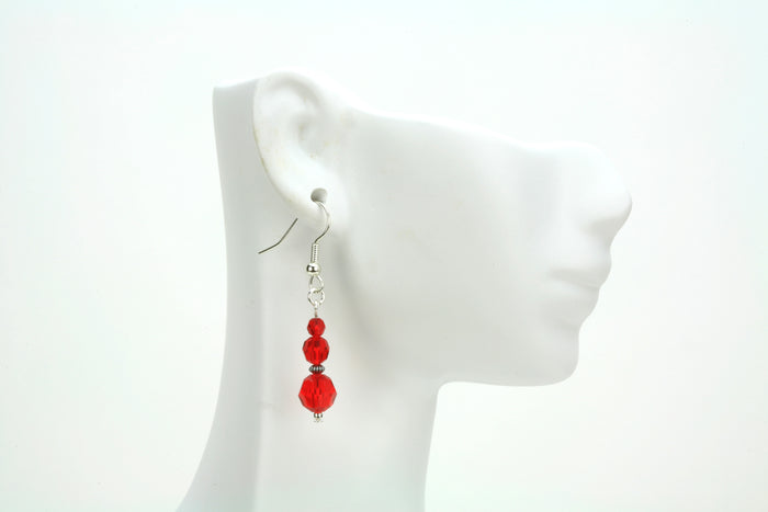 Light Siam Three Bead July Birthstone Silver Earrings