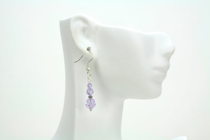 Violet Three Bead Silver Earrings