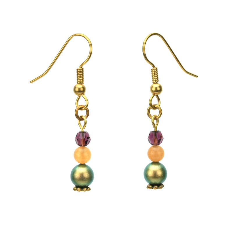 Iridescent Green Pearls, Aventurine and Amethyst Gold Dangle Earrings