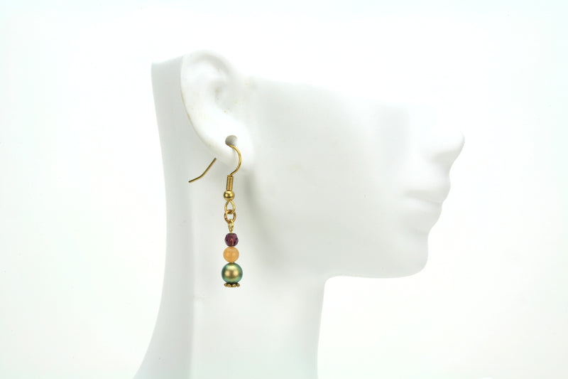Iridescent Green Pearls, Aventurine & Amethyst Gold Dangle Earrings