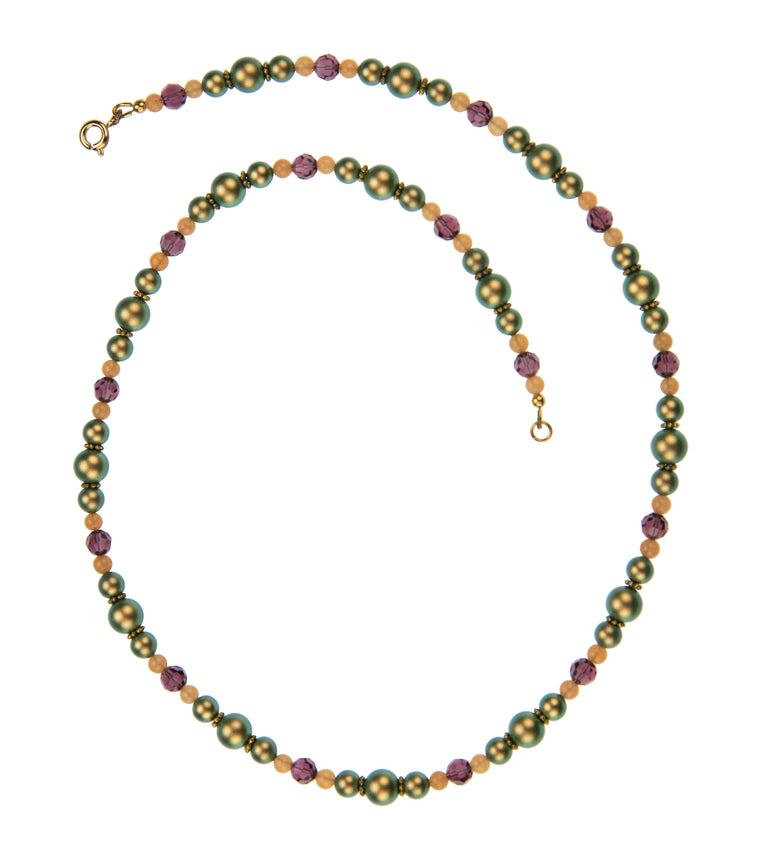 Iridescent Green Pearls, Aventurine and Amethyst Gold Necklace