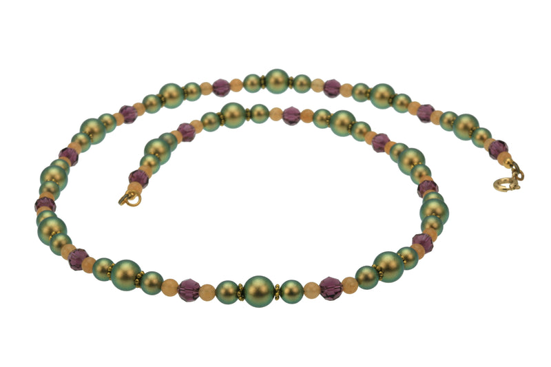 Iridescent Green Pearls, Aventurine & Amethyst Gold Necklace