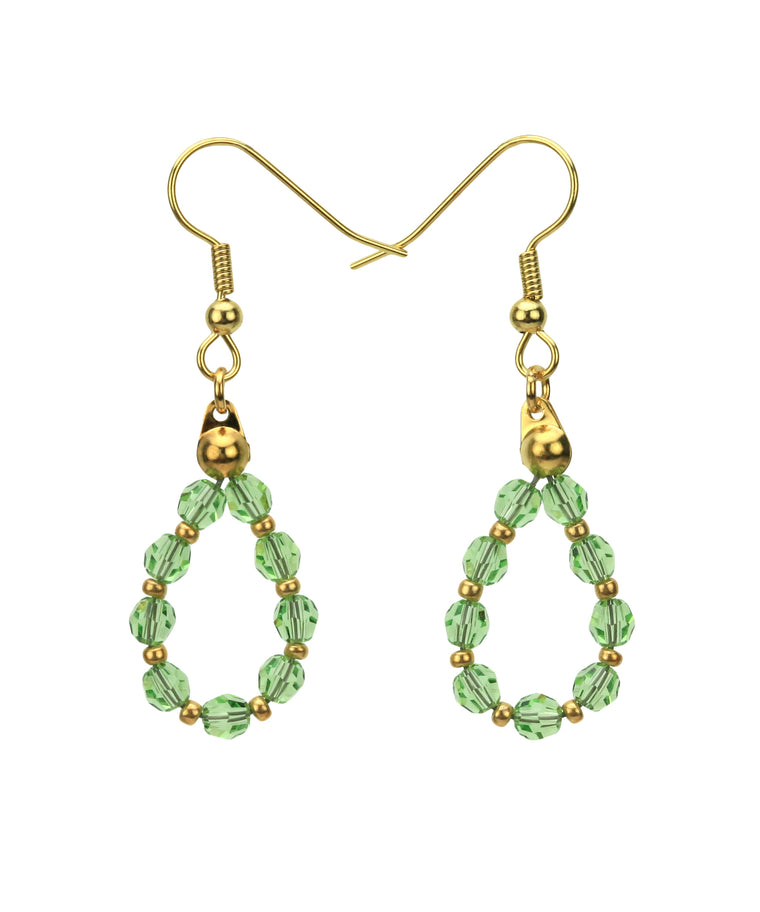 Gold August Peridot Birthstone Earrings