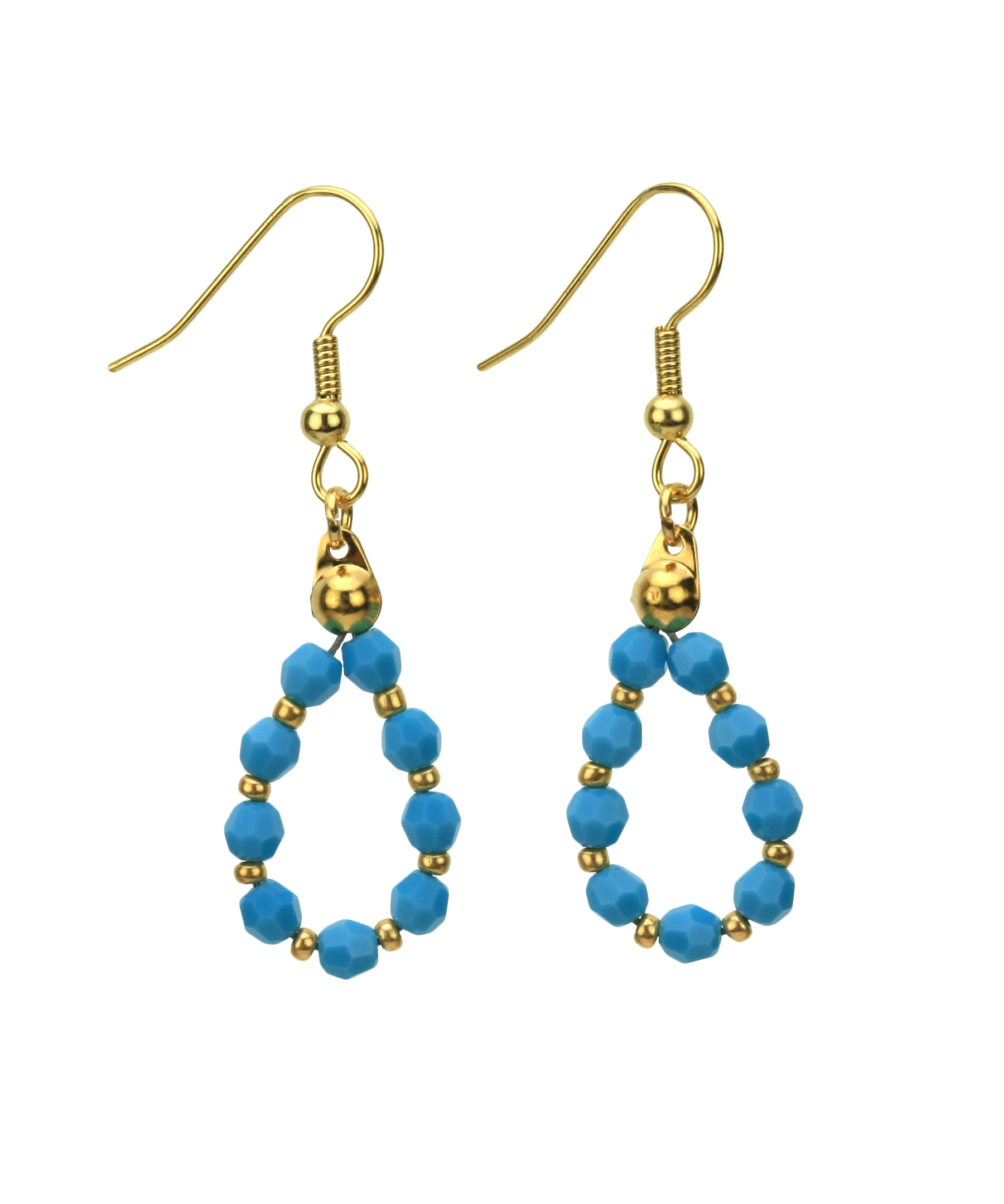 Gold December Turquoise Birthstone Earrings